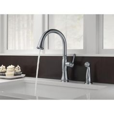 Delta Cassidy Single-Handle Side Sprayer Kitchen Faucet in Arctic Stainless-4297-AR-DST - The Home Depot