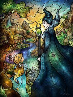 Fan Art Friday – Stained Glass Disney Art by Mandie Manzano Disney Fan Art, Deco Disney, Disney And More, Disney Love, Disney Magic, Sleeping Beauty Maleficent, Disney Sleeping Beauty, Maleficent Aurora, Aurora Disney