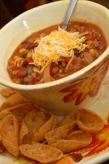 Taco Soup-I would use the leanest ground beef or turkey I could get and an extra can of diced tomatoes (juice removed). Add some jalapenos or hot sauce?