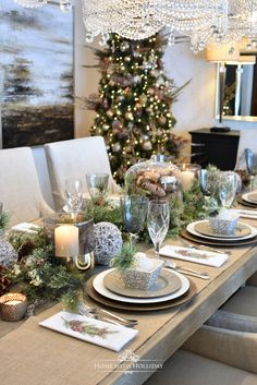 My Christmas Home Tour - Simple Woodland and Pine Cone Christmas Table Setting - Home with Holliday