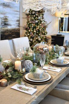 Woodland and Pine Cone Christmas Table Setting - Home with Holliday #christmas #christmasdecor #christmastablesetting