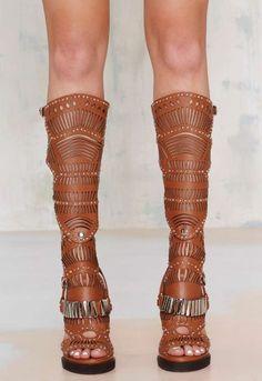 NWB JEFFREY CAMPBELL BELLONA Knee High Brown & Metal Sandals Boots sz US 7.5 #JeffreyCampbell #KneehighOpenToe #SpecialOccasion