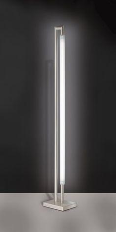 ZOE lampada da terra - Citylux - Piantana ZOE. Lampada da terra in metallo satinato con neon da 58W, il design e la forma particolare la rendono molto elegante e ben si adatta agli arredi moderni