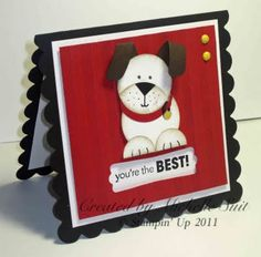 This puppy is created with #punches. How adorable. Love, love our punches! Stampin' Up! Punch Art Michelle Suit Puppy Dog
