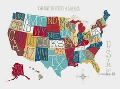 Whimsical Usa Typography Map Art Print By Groovygravy