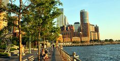 Battery Park City's crown jewel - the 1.2 mile esplanade that runs along the Hudson River. #Manhattan #NYC