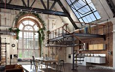 n industrial loft design was meant for an artist and it combines the best of both worlds. A living area and a workshop. This industrial interior loft is a wonde Loft Estilo Industrial, Industrial Living, Industrial Windows, Industrial Chic, Industrial Stairs, Industrial Closet, Industrial Shelving, Industrial Farmhouse, Industrial Wallpaper