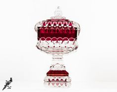 """TheCordialMagpie on Etsy: Vintage Westmoreland Crystal - Wedding - Ruby Flash 8"""" Medium Wedding Bowl with Lid Square Candy Jar / Dish / Compote Cranberry Red Glass"""