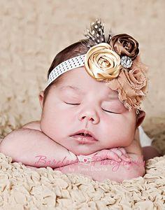 $15 Vintage Gold, Chocolate and Latte Shabby Chic Chiffon and Satin Rosette Headband