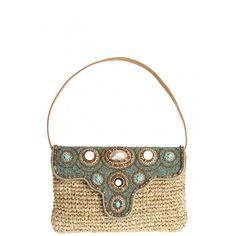 Siwa Turquoise Embellished Straw Clutch | Calypso St. Barth