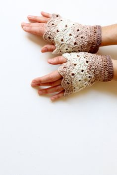 Hand Crochet Fingerless Gloves / Front page / winter fashion/ chiristmas Gift/ Beige brown. xoxo. $25,00, via Etsy.