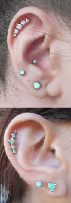 Unique and Pretty Ear Piercing Ideas at MyBodiArt.com - 5 Opal Cartilage Helix Earring Stud - Lobe Jewelry