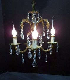 Ornate Brass Crystal Petite Chandelier Small Four by donDiLights
