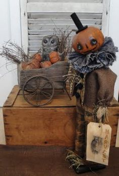 Primitive Folk Art Halloween Pumpkin Owl Doll...