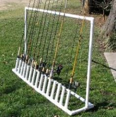 Free PVC Pipe Projects | Free plans and pictures of PVC pipe project for holding fishing rods.