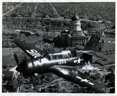 A military fighter flies over Salt Lake City on Oct. 26, 1945. (Tribune file photo)