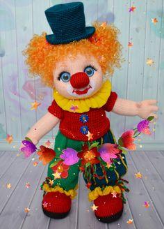 Кукла-клоунесса связана по МК Татьяны Белоусовой Клоун, кукла клоунесса, рыжая кукла,
