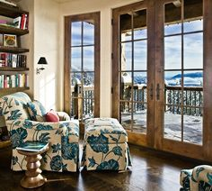 Western Rustic Timber & Stone Montana Mountain Ski Home