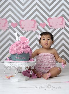 Meet Akirra, I can't believe it's been about a year since I did her newborn pictures, she came to see me for her pink elephant cake smash th. Newborn Pictures, Baby Pictures, Baby Photos, Smash Cake First Birthday, Baby Birthday Cakes, Cake Smash Photography, Birthday Photography, Elephant Cakes, Pink Elephant