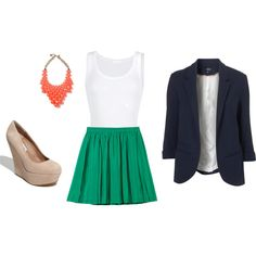 love! all i need is the green skirt and nude heels :)