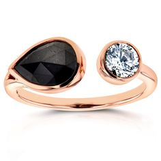 """Black and White """"Two"""" Stone Diamond Ring 1 7/8 CTW in 14K Rose Gold"""