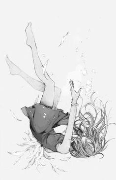 """ Black, White, Grey, Gray, Greyscale, Grayscale, Mono, Monochrome, Monochromatic, Anime, Drawing, Girl, Japan, Japanese """