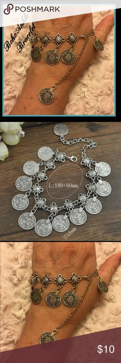Boho Ankle bracelet This is super cute. Fit all size ankles the coins look vintage because of the darker Gray patina. I know it's on my hand lol my toes need a pedi. Jewelry Bracelets