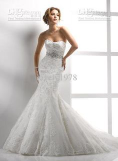 Nuevo estilo al por mayor de la sirena sin tirantes atractivo 2012 del cordón de las colmenas de listones Cristales capilla vestidos de boda, envío libre, $ 182.95/Piece | DHgate