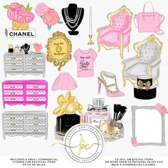 Beauty Room Fashion Girl Clipart Set. Create your own invites, stickers, printables and more with this kit!  ♥ ♥ ♥ /////// Match with------------------->>  Paper Set: https://www.etsy.com/listing/516890401/beauty-room-digital-paper-set-fashion?ref=shop_home_active_2 ---------------------------------------------------------------------------------------------------  ♥ WHAT YOU GET: - PNGs files transparent | all without wat...