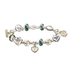 Green Bay Packers Charm Bracelet With Genuine Swarovski® Crystals #Packers #NFL