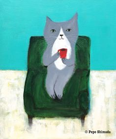 """Pepe Shimada Paitings: """"Seaside Sofa Coffee Cat"""" on canvas. Funny Paintings, Cafe Art, Cute Cats, Photo Art, Illustration Art, Illustrations, Coffee Cat, Dog Cat, Sketches"""