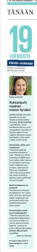 Lapinlahden Lähde järjesti kukkasipulien istutustempauksen Lapinlahden sairaalan puistossa 19.10. Juttu päivän menovinkista Helsingin Sanomissa Ihmiset-palstalla 19.10.2014