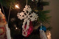 Crochet cross ornaments Hanging decorations Christmas tree