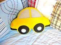 Felt Stuffed Car Shaped Toy Pillow / Car by QuarterLifeLuck