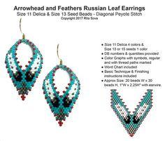 Arrowhead and Feathers Russian Leaf Earrings | Bead-Patterns.com
