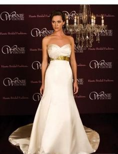 A-Line/Princess Strapless Chapel Train  wedding dress (SEW0026