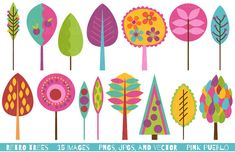 Retro Tree Clipart Clip Art, Vintage Trees Clip Art Clipart Vectors - Commercial and Personal Use
