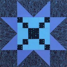 Sawtooth Star quilt block with Single Irish Chain center