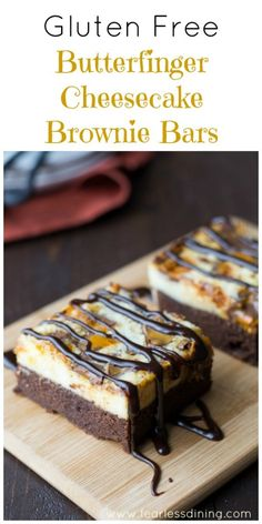 Gluten Free Butterfinger Cheesecake Brownie Bars found at http://www.fearlessdining.com