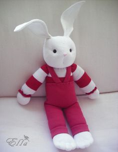 Bunny Toy White Soft Rabbit   Handmade sock toy White by ellidia, $27.00