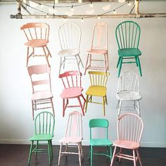 Who doesn't like a colorful wall of chairs.  photo prop ideas. Instagram via thewhitehousegirls_katie