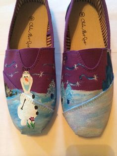 Canvas shoes featuring Olaf and Sven from Disneys Frozen. These shoes are hand painted and coated with a water proof spray. These shoes can be