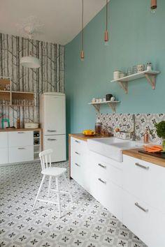 mint + blanc + carreaux de ciment pour la cuisine #decorationcuisine