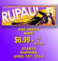 Announcing the amazingly fabulous RuPaul Bar! A delicious milk chocolate bar with peanut butter and sea salt. A portion of the proceeds from the RuPaul Bar will be donated to the Jeff Griffith Youth Center.
