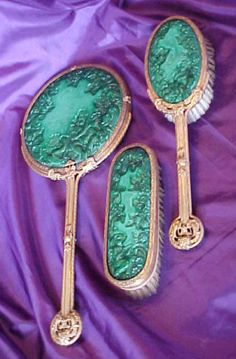 Rare Czech Art Deco Malachite & Filigree 3pc BRUSH SET