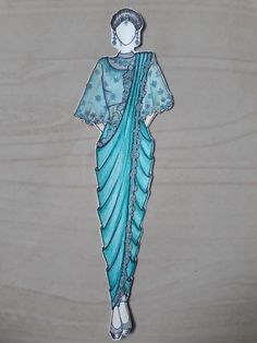 Fashion Design Sketches 580823683174704746 - Draping saree with Cape designed by shalini sonti Source by Kanpuriyachoraa Dress Design Drawing, Dress Design Sketches, Fashion Design Sketchbook, Fashion Design Drawings, Fashion Sketches, Art Sketchbook, Dress Illustration, Fashion Illustration Dresses, Medical Illustration