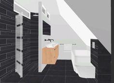 Indeling bovenverdieping met schuin dak | inloopdouche, houten badkamermeubel, bad, toilet Door icveldman