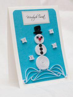 Christmas card with a snowman / Kartka świąteczna z bałwankiem / Quilling