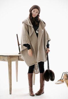 beige  cape Coat spring coat winter coat Autumn Woman Wool Long Knitted Coat Sweater my01 M-L. $68.99, via Etsy.