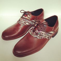 #Handmade #leather and #huipil #oxford #shoes www.themayanstore.com